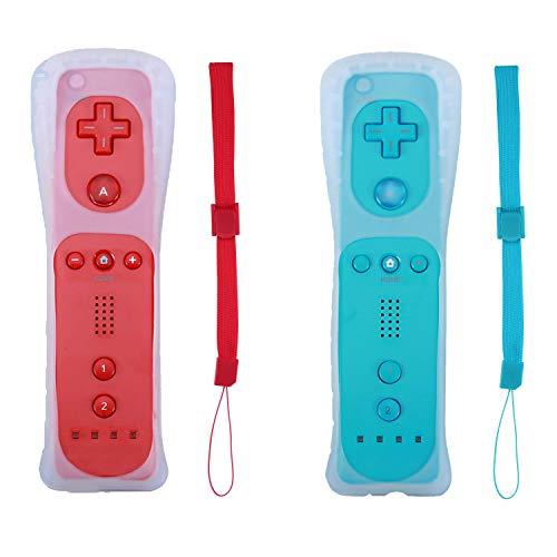 Poglen 2 paquetes de controladores de gesto inalámbricos compatibles con consola Wii Wii U (rojo y azul)