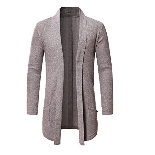 Hombres Long Knit Sweater Chaquetas Color sólido Otoño Cardigan