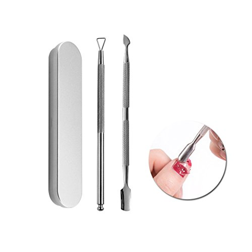 Spingere il kit di rimozione cuticole, peeling cuticole triangolo in acciaio inox e doppio finto spele cuticole strumenti di rimozione di arte del chiodo (Argento)