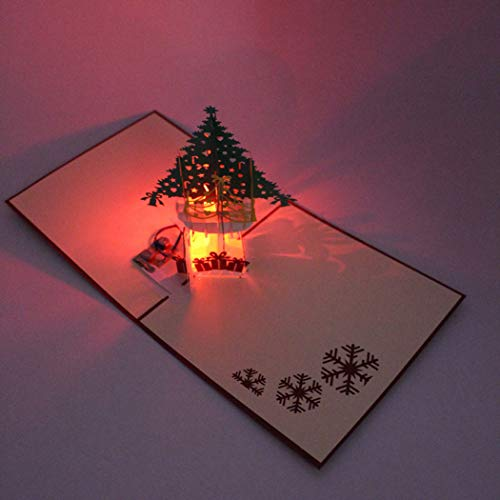 Outgeek Christmas Cards LED Light 3D Pop up Cards Holiday Greeting Cards