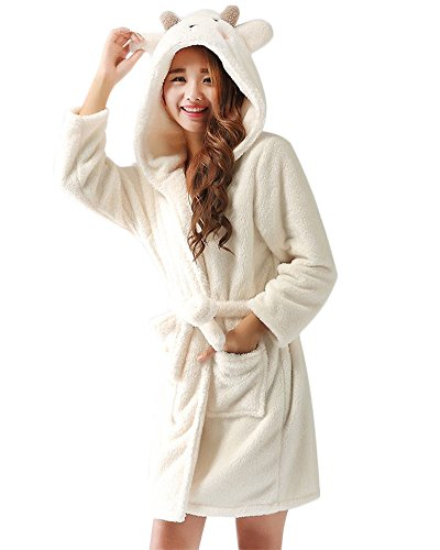 Bata para Estar por Casa Super Suave Pijama Ropa Longitud Completa con Capucha Albornoz Oveja S