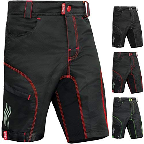 Brisk Bike MTB Shorts Including Padded Inner Shorts (Black/Red, X-Large)