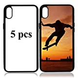 JUSTRY 5 PCS Sublimation Blanks Phone Case Cases Covers Compatible with Apple iPhone X/10 iPhone Xs 5.8 Inch. Blank Printable Phone Case for DIY Sublimation Soft Rubber Shockproof Slim Case Anti-Slip