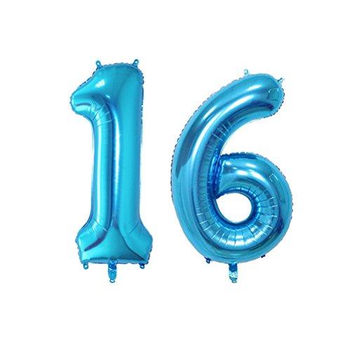 TOYMYTOY Folie Ballon Geburtstag Zahl Luftballon 16 für Geburtstag Jahrestag Party Dekoration 40 Zoll