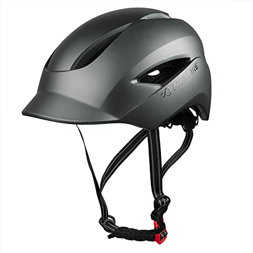 MOKFIRE Casco de Bicicleta para Adultos con luz de Seguridad Recargable USB y Correa...
