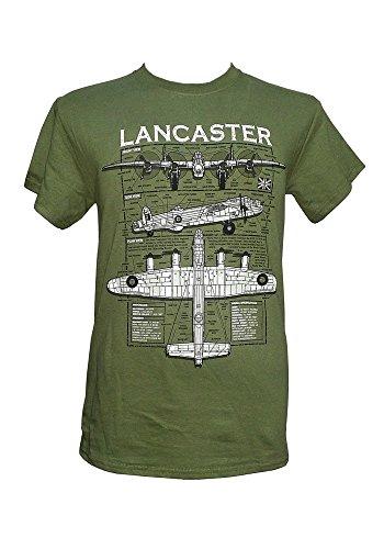 The Wooden Model Company Ltd Avro Lancaster Heavy Bomber – British Aircraft/Militaires T-Shirt avec Motif Blueprint - Vert - Large