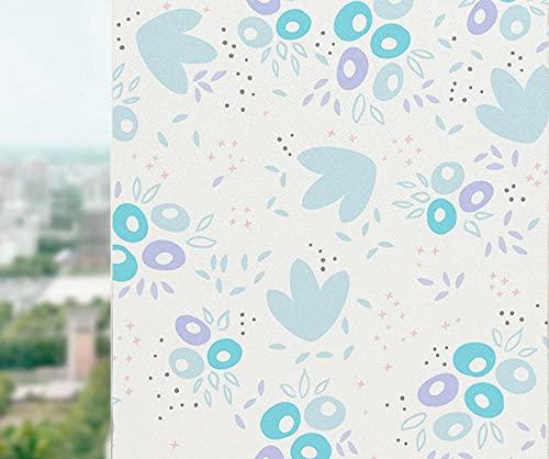 DRSTGYH 3D Fensterfolie Selbsthaftend Blaue Blume der Karikatur Blickdicht Sichtschutzfolie Statische Fensterfolien Anti-UV Folie für Zuhause Badzimmer oder Büro 60 x 200 cm