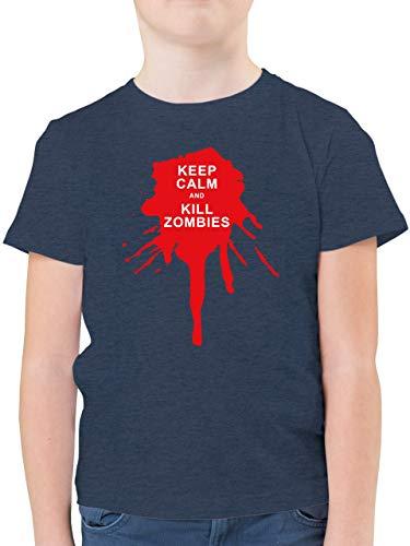 Up to Date Kind - Keep Calm and Kill Zombies - 164 (14/15 Jahre) - Dunkelblau Meliert - Zombies - F130K - Kinder Tshirts und T-Shirt für Jungen