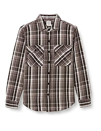 [アヴィレックス] ネルシャツ DAILY FLANNEL CHECK SHIRTS 6195127 メンズ 14 GREY 日本 S (日本サイズS相当)