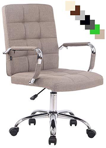 Bürostuhl Deli PRO mit Stoffbezug I Schreibtischstuhl mit Metalldrehkreuz I Chefsessel mit Laufrollen I erhältlich, Farbe:Taupe