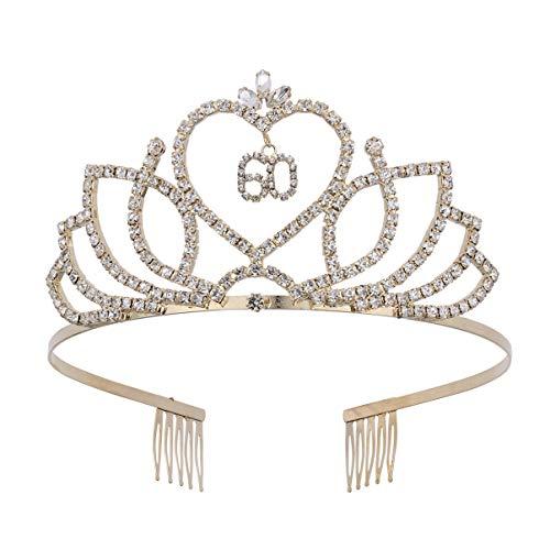 Lurrose 60 Verjaardag kroon tiara kristal strass kroon tiara haarband prinses haaraccessoires dames jubileum verjaardag party hoofdband kostuum accessoires (goud)