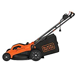 powerful BLACK + DECKER lawn mower, with cord, 13 amps, 20 inches (BEMW213), orange