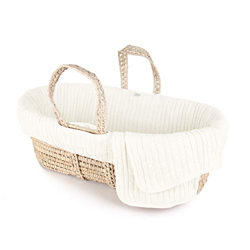 Tadpoles Cable Knit Moses Basket and Bedding Set, Ivory