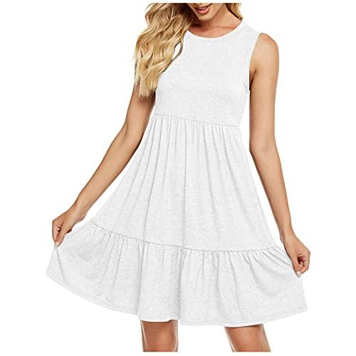 WYTong - Vestido de verano para mujer, estilo informal, para playa, verano, con cuello redondo, sin mangas, plisado, holgado, para mujer, Suave, L, Blanco