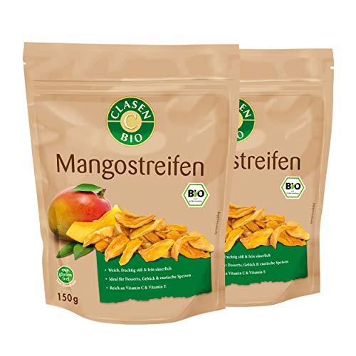2x CLASEN BIO Mangostreifen, getrocknet, ohne Zuckerzusatz, ungeschwefelt, vegan und glutenfrei - 150 g