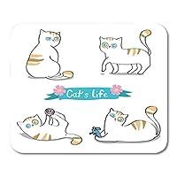 マウスパッドの漫画スタイル4匹の猫が白でかわいい子猫がネズミとおかしい遊びをしています' sステッカーウォールマウスマットマウスパッド