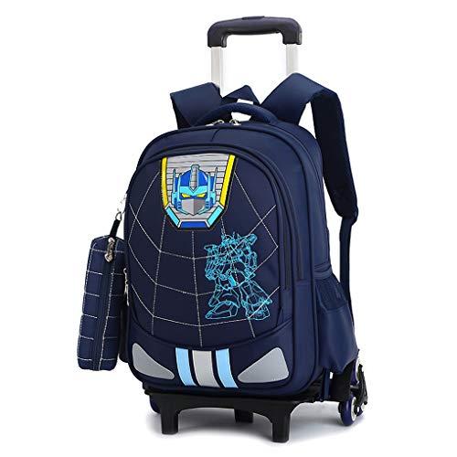 Vengadores de la carretilla Bolsas Escuela de ruedas para niños Kids Iron Man equipaje seguir adelante Mochila para escapadas, estancias, dormir fuera de casa y viajes de estudios,Dark Blue-6 Wheels
