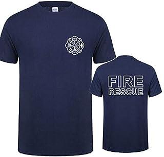 تي شيرتات - تي شيرت رجال الإطفاء بأكمام قصيرة للرجال بتصميم رجل الإطفاء QR-045