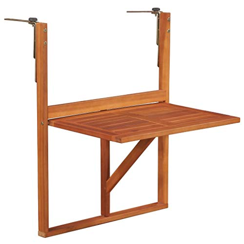 vidaXL Solid Acacia Wood Balcony Table Brown Furniture Patio Garden Hanging