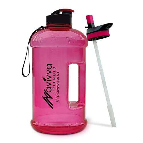 NAVIVVA SPLENDID 2.2 Litre Large Reusable Gym Water Bottle, Dishwasher Safe, BPA Free Tritan Plastic (Rose Pink)