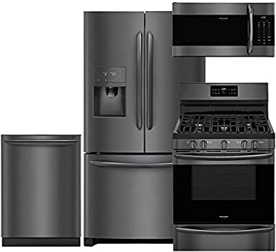 Frigidaire Package with FGHB2868TD 36 French Door Refrigerator, FGGF3036TD 30 Freestanding Gas Range, FGID2466QD 24 Fully Integrated Dishwasher and FGMV176NTD 30 Microwave