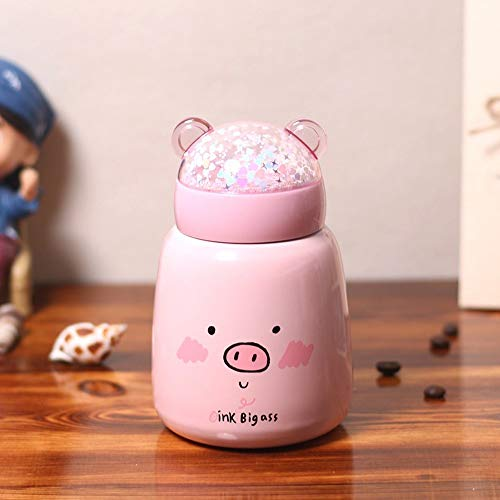 ghn Thermos Cup Kids Cartoon Drink Vacuum Cup Insulated Tumbler pink Pig Cute Coffee Wall Food Container Thermos Cup Heat Preservation Soup Kids water bottle Hot Water Bottle Stainless Steel Thermal
