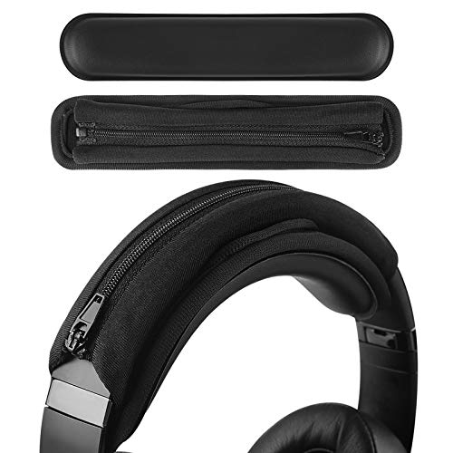 Geekria Hook and Loop Headband Cover + Headband Pad Set/Headband Protector with Zipper/DIY Installation No Tool Needed, Compatible with Bose, Beats, JBL, ATH, Hyperx Headphones (Black)