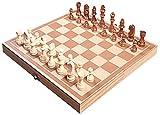 Juego de ajedrez portátil Conjunto de ajedrez de madera, conjunto de juegos de mesa de ajedrez de viaje a mano con tragamonedas de almacenamiento de ajedrez para niños y adultos Ajedrez de madera con