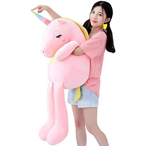 VineCrown Dolce Unicorno Peluche Carino Peluche Cuscino Morbido Fidanzata Come Regalo di Compleanno (Rosa, 85cm)