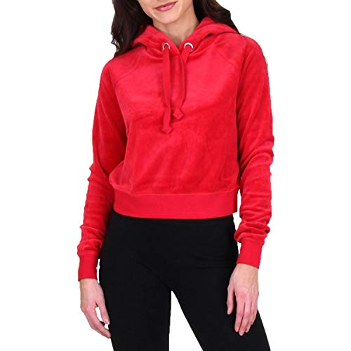 Juicy Couture Black Label Womens RED Velour Logo Pullover Sweatshirt Hoodie Sweater SZ XL