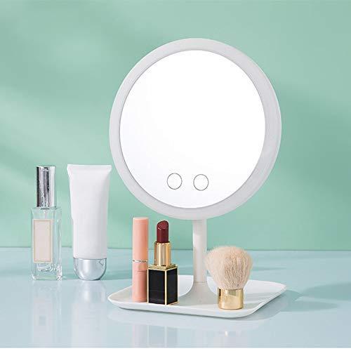 FYYONG Led Plegable Espejo de baño, Desmontable 24 LED Luz de Tira de Brillante luz Suave de la Pantalla táctil de regulación Diseño Recargable portátil USB