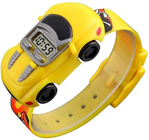 Kinder-Uhr mit digitalem Zifferblatt in Form eines Autos elektronische Uhr modisch 5 Farben gelb-Gelb