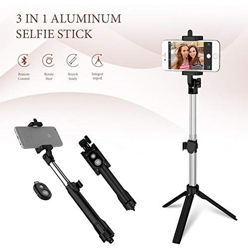 Comtervi Bluetooth Selfie Stick trípode, Wireless Selfie Barra de 270° Giratorio 3en...