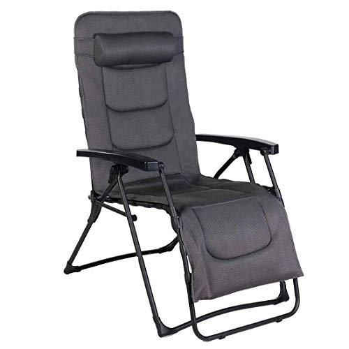 OUTLIV. by Westfield Relaxliege Stahl/Textil 2D Mesh Anthrazit/Grau Relaxsessel klappbar/verstellbar | bis 140 kg | Relaxstuhl Gartenliege Terrasssenliege Balkonliege