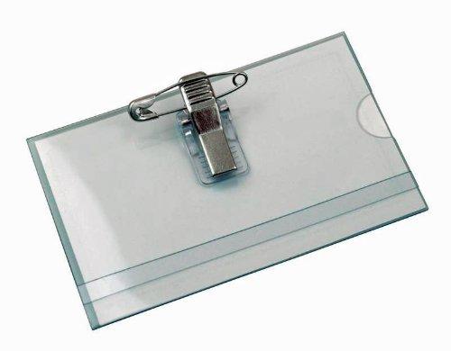 FALAMBI 50 x Namensschilder NAMENSSCHILD, Halter mit Einleger + Clip + Nadel, 90 x 56 mm