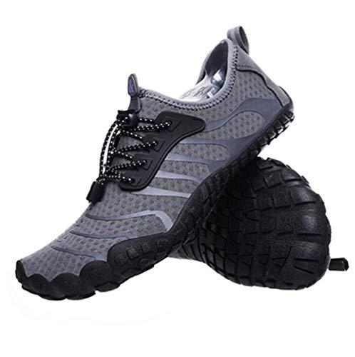 JJZXLQ Zapatos de Agua, Unisex Descalzo al Aire Libre Secado rápido Zapatos de Agua Mujeres Hombres para Aqua Beach Vacation Swim Diving Surf Yoga,Gris,44