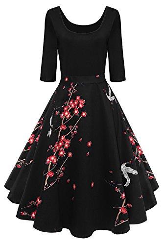 MisShow Damen Elegant Audrey Hepburn Kleid Langarm A-Linie mit Blumendruck U-Ausschnitt Partykleider...