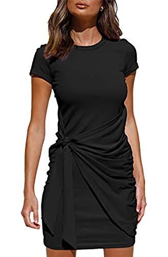 Vestito Estivo Donna Girocollo Maniche Corte Abito Elegante Donna Casual Nodo Torsione con Cintura Aderente Vestiti Donna da Cocktail Nero L-16