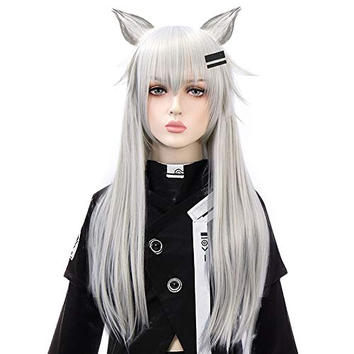 LJYNB Juego Arknights Lappland Cosplay pelucas gris plateado largo de fibra de alta temperatura peluca de pelo fiesta de Halloween carnaval disfraz peluca