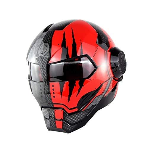 MYSdd Cooler und stylischer Motorradhelm Flip Skull Capacetes Flip Helm Schnelle und einfache Schnalle, weiches und bequemes Innenfutter - glänzend schwarz rot X XL