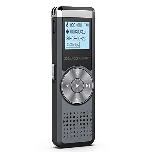 64GB Digitale Diktiergeräte, KINPEE Audio Aufnahmegerät Diktiergerät MP3 Ton Aufnahmegerät Audio Recorder Digital Voice Recorder Diktiergerät Klein Sound Recorder Rekorder Diktiergerät mit Wiedergabe