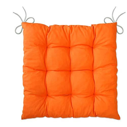 LILENO HOME 1er Set Stuhlkissen Orange (40x40x6 cm) - Sitzkissen für Gartenstuhl, Küche oder Esszimmerstuhl - Bequeme UV-beständige Indoor u. Outdoor Stuhlauflage als Stuhl Kissen