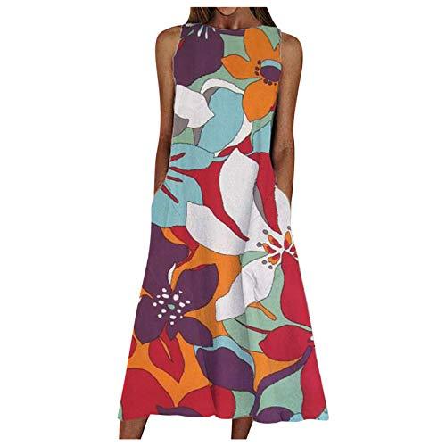 TUDUZ Vestido para Mujer de Verano Suelto Informal Vintage Moda Estampado Maxi Vestido Playeros Vestidos Largos Falda Larga sin Mangas Cuello Redondo Maxi Vestido de oscilación(Orojo,XXL)