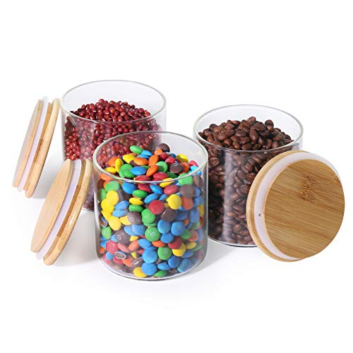 77L Barattolo per Alimenti, 550 ML (18.6 FL OZ) Barattoli di Vetro Addensato con Coperchio in Bambù a Chiusura Ermetica, (Set di 3) Contenitore per Alimenti per Servire Caffè, Tè, Spezie e Altro