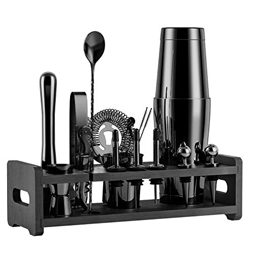 Soing 24-Piece Cocktail Shaker Set,Perfect Home Bartender Kit for Drink Mixing,Stainless Steel Bar Tools With Stand,Velvet Carry Bag & Recipes Cards Included (Black)
