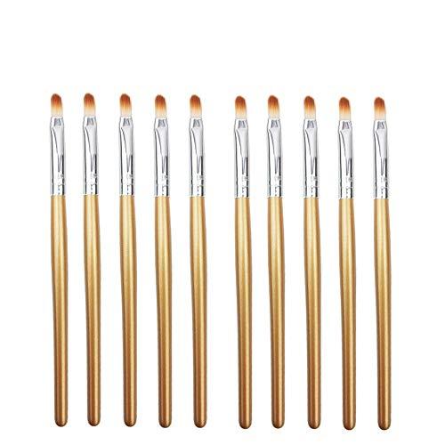 MIOHONG 10 pinceaux de maquillage picotements for les yeux pinceau for les lèvres Ombre à paupières Points culminants Outil pratique - Jaune (Color : Brown Silver)