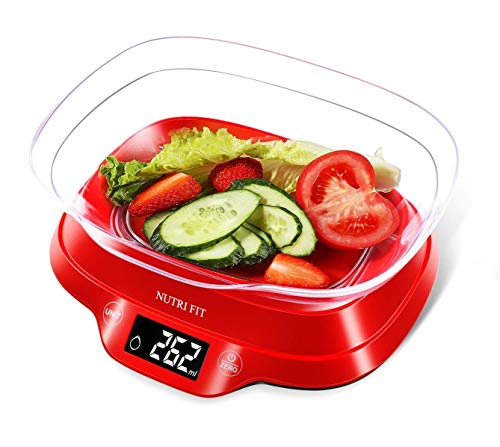 NUTRI FIT Digital Kitchen Food Scale with Removable Bowl for Baking Cooking Weight in Ounces Grams Max Capacity 11lb Backlight LCD Display Tare Function (Batteries Included)-Red