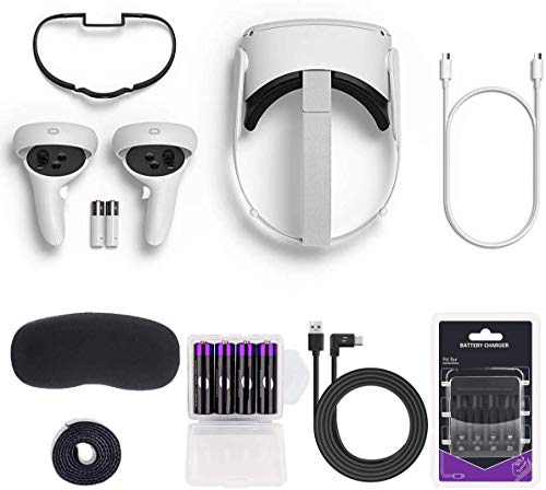 Oculus Quest 2 - Advanced All-in-One Virtual Reality 256GB Gaming Headset — Family VR Video, Bundle with 4 AA Rechargeable Batteries and Charger Accessories Set
