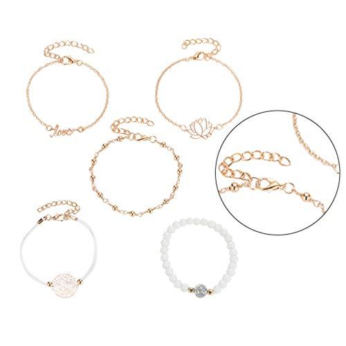 Guangcailun 5pcs Bracelets Letter Flower Wrist Chains Alloy Gold Decorative Hand Jewelries for Women Girls
