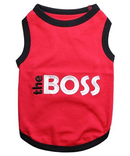 Parisian Pet Dog Cat Clothes Tee Shirts Embroidered T-Shirt The Boss, L